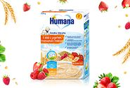 Humana Kaszka mleczna 5 zbóż z jogurtem, truskawkami i malinami dla niemowląt po 8. miesiącu życia (200 g)
