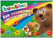 Blok rysunkowy z kolorowymi kartkami A4, BAMBINO, 16 kartek