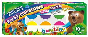 Farby plakatowe BAMBINO 10 kolorów (20 ml)