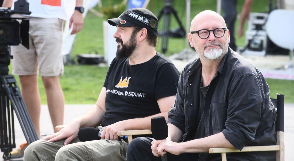 Arkadiusz Jakubik i Wojciech Smarzowski podczas 43. Festiwalu Filmowego w Gdyni. Wrzesień 2018 roku