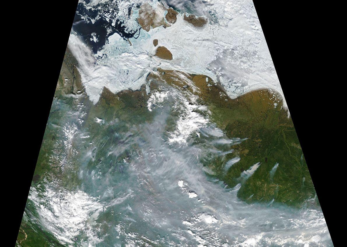 Satelitarny obraz pożarów na Syberii z 23 lipca