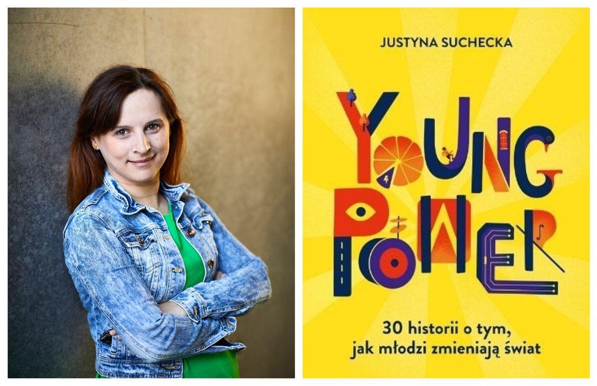 """Justyna Suchecka i okładka jej książki """"Young Power"""""""
