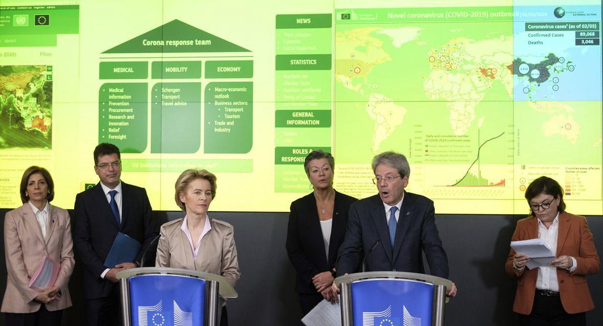 Konferencja prasowa w Centrum Koordynacji Reagowania Kryzysowego UE. Bruksela, 2 Marca 2020 roku
