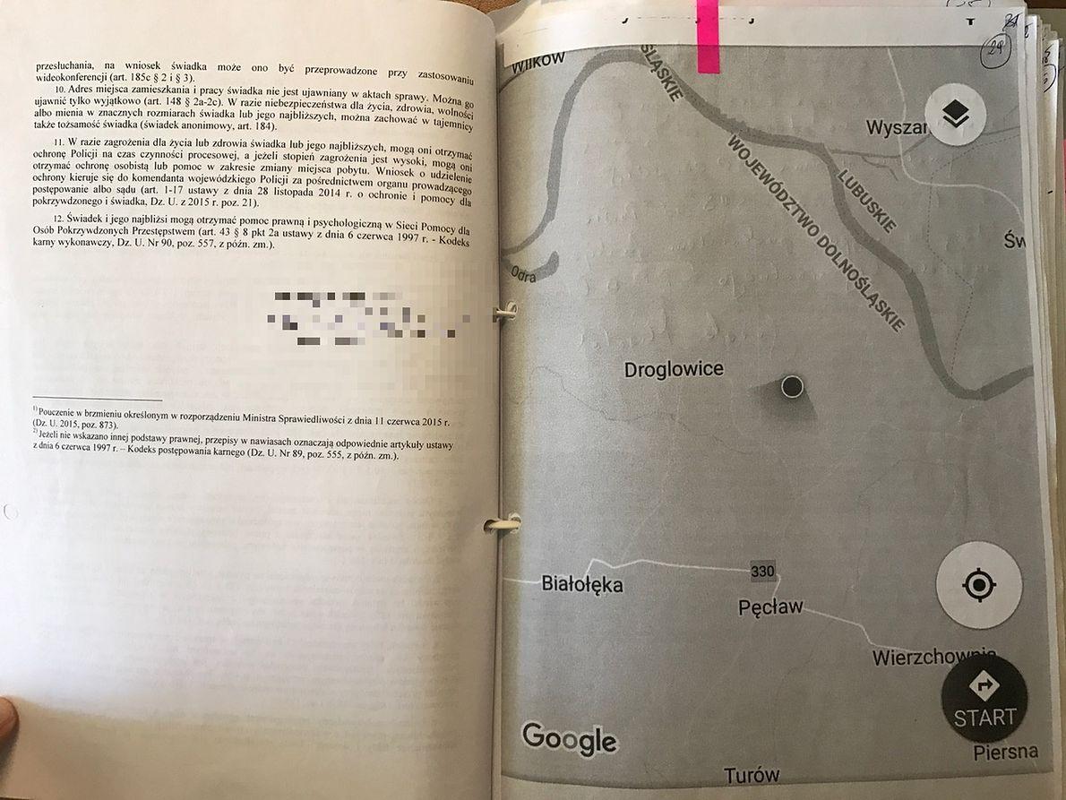 Fragment akt z mapką, którą Paweł Chruszcz przesyłał swoim kolegom, prosząc o zabranie samochodem ze wskazanego miejsca