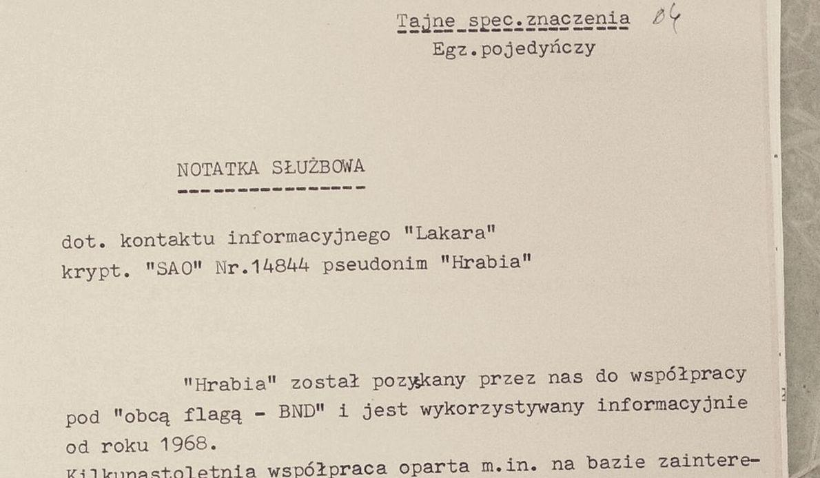"""Fragment notatki na temat aktywności """"Lakara"""", znajdującej się w zbiorach zastrzeżonych IPN-u"""