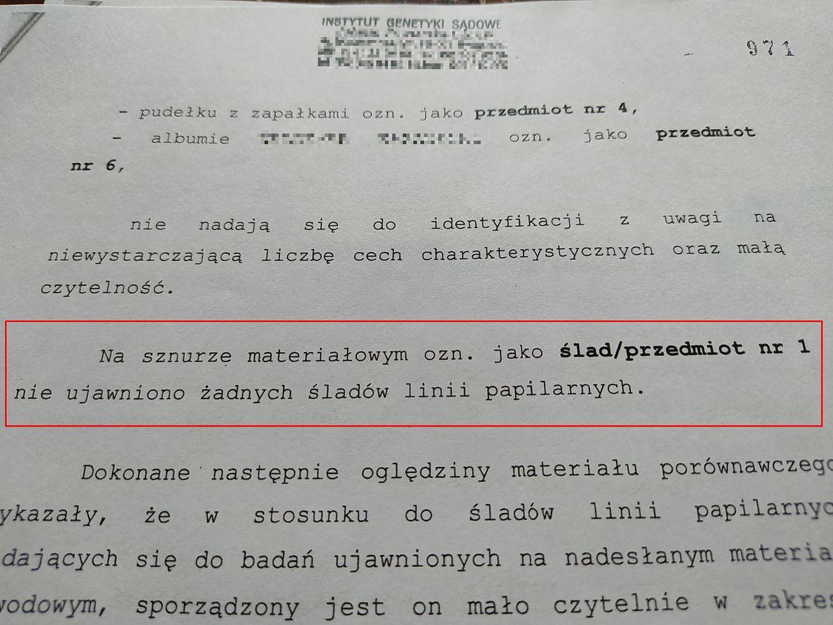 Fragment sprawozdania z opinii daktyloskopijnej z akt sprawy Pawła Chruszcza