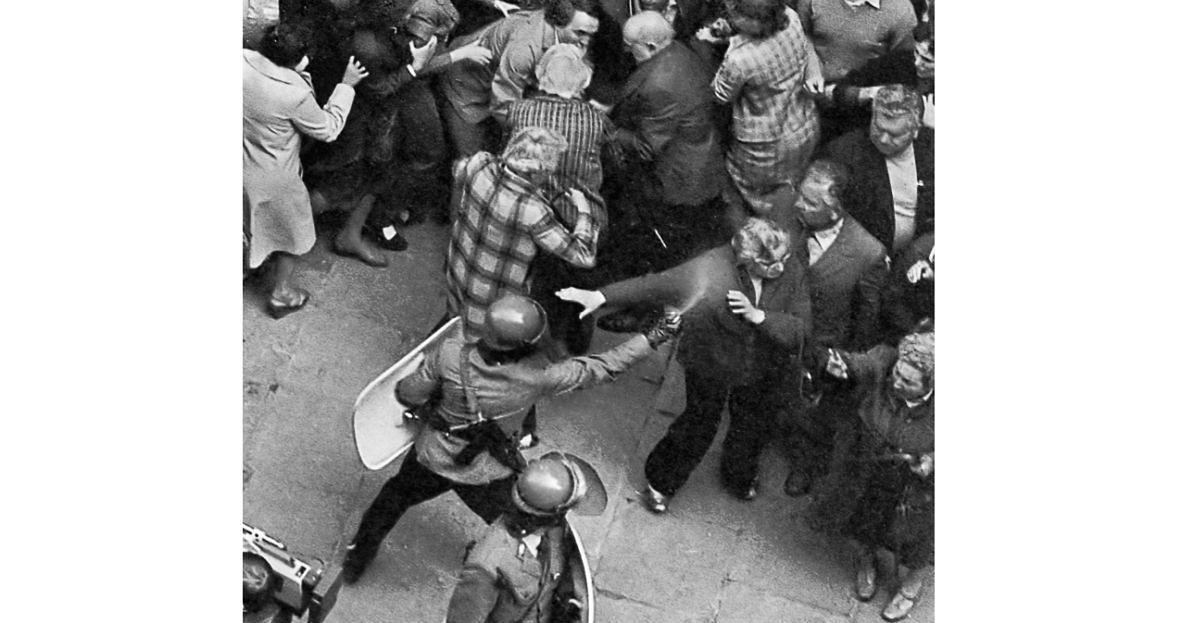Atak ZOMO na ludzi zgromadzonych przed katedrą Świętego Jana Chrzciciela w Warszawie. 1 maja 1983 roku