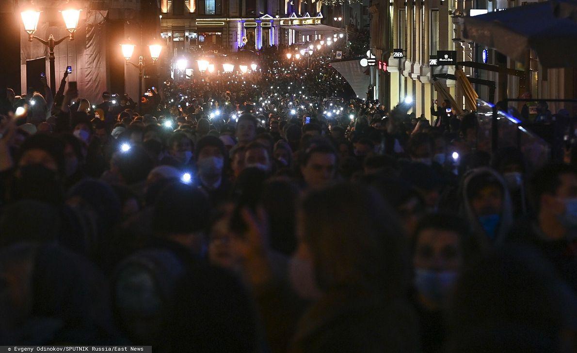 21.04.2021 r. Protest w Moskwie w obronie Aleksieja Nawalnego