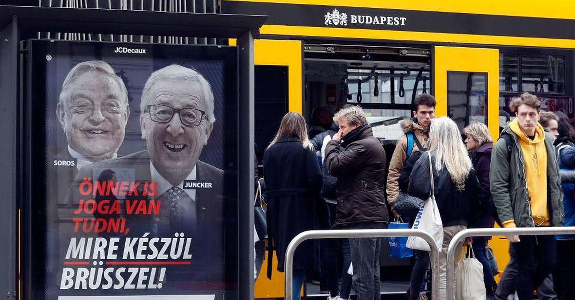 Premier Węgier jest w stanie zadysponować, aby cały kraj obwieszono billboardami straszącymi naród Georgem Sorosem i Jean-Claudem Junckerem