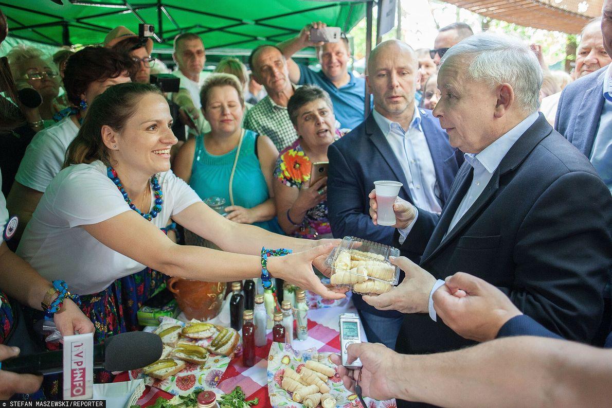 Jarosław Kaczyński podczas kampanii wyborczej