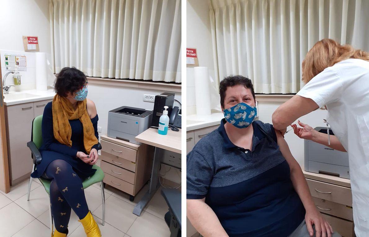 Zehorit Sorek i jej partnerka otrzymują szczepienie na Covid-19