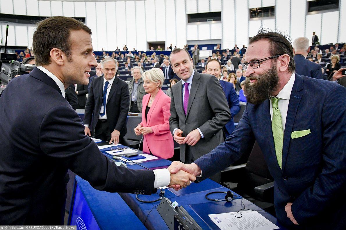 Szajer i prezydent Francji Emanuel Macron