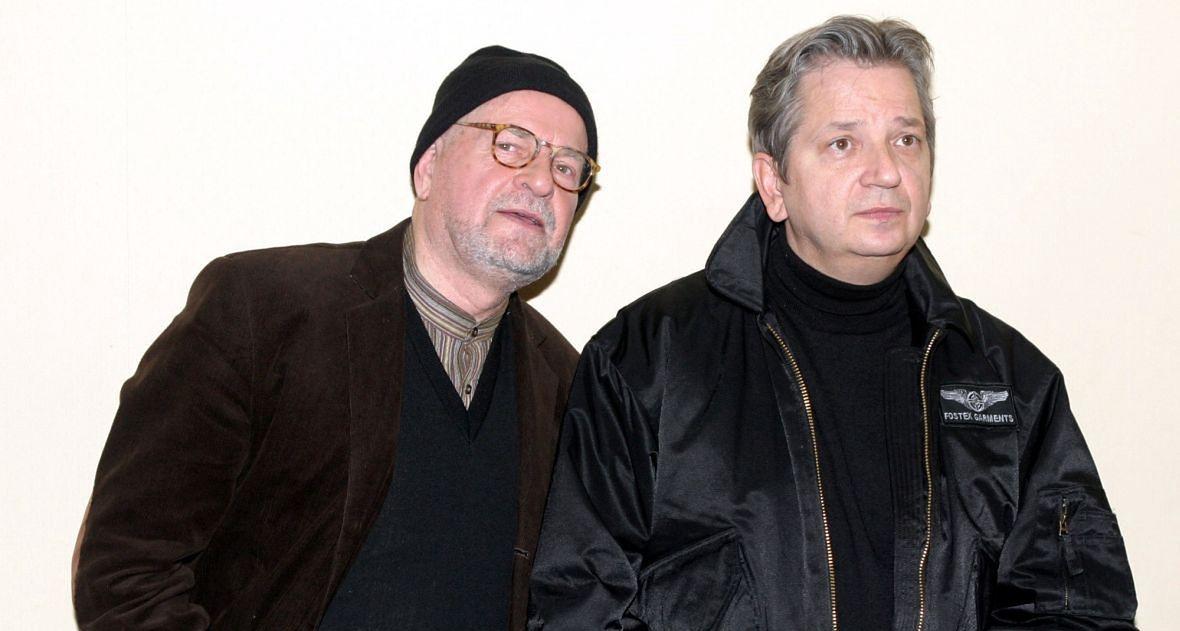 """Jan i Juliusz Machulscy podczas konferencji prasowej przed rozpoczęciem zdjęć do filmu """"VINCI"""". Kwiecień 2004 roku"""