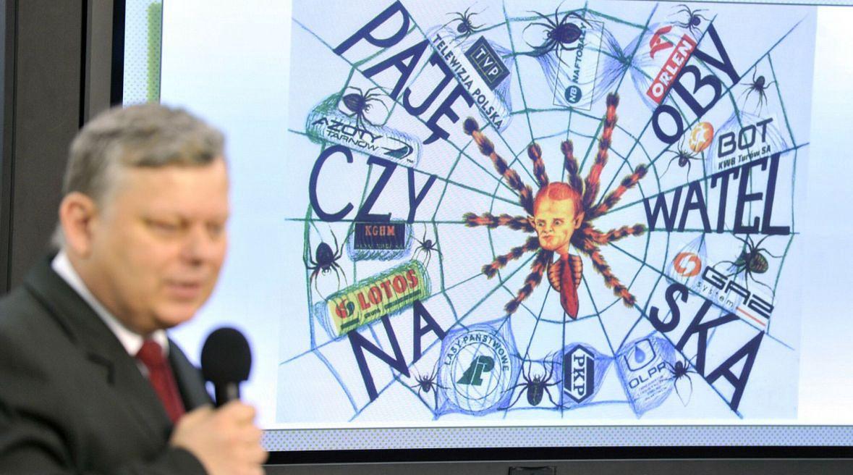 """Luty 2011 roku. Marek Suski prezentuje """"pajęczynę Platformy"""". Tak według posła ma wyglądać sieć ludzi PO obsadzających spółki skarbu państwa"""