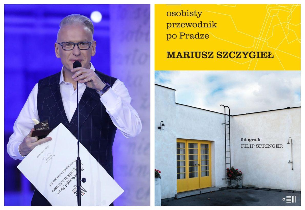 """Mariusz Szczygieł i okładka jego książki """"Osobisty przewodnik po Pradze"""""""