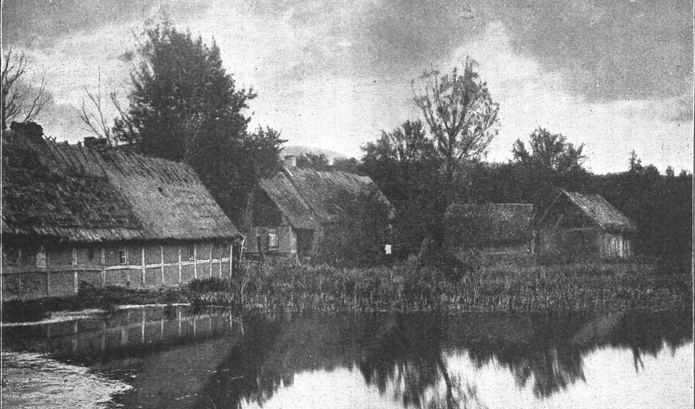 """Chaty kaszubskie. Prawdopodobnie podobnie wyglądała przed wojna zabudowa Borucina. Zdjęcie z książki """"ZDROJE RADUNI. Przewodnik po tak zw. Szwajcaryi Kaszubskiej"""", rok 1913"""
