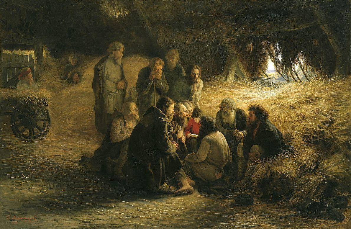 Chłopi rosyjscy czytający dekret uwłaszczeniowy z 1861 r., wydany przez cara Aleksandra II. Obraz pędzla Grigorija Miasojedowa