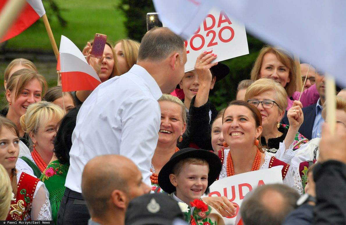 Prezydent Andrzej Duda podczas wiecu wyborczego