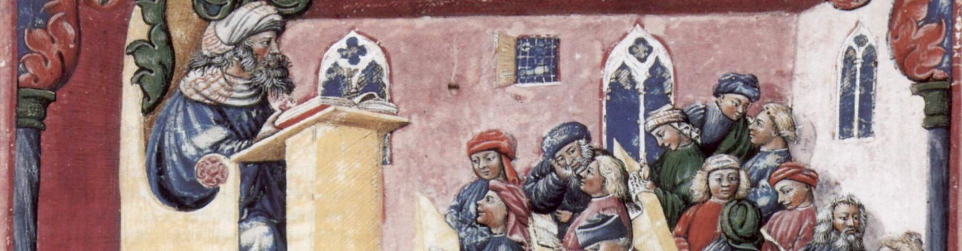 14-wieczna rycina przedstawiająca wykład na Uniwersytecie Bolońskim