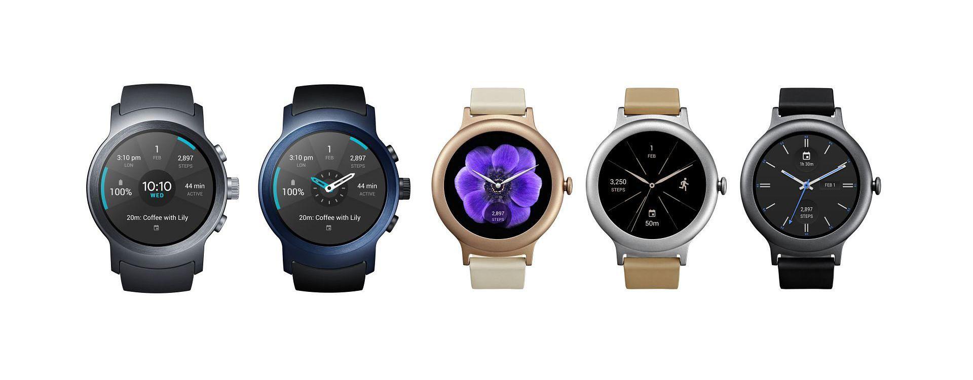 LG Watch Sport (dwa pierwsze) i Watch Style (trzy kolejne)