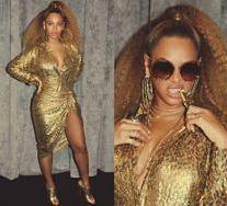 Beyonce cała na złoto w stylizacji za 35 tysięcy