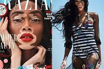 Modelka z bielactwem prezentuje modne makijaże