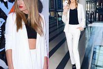 Biały damski garnitur w stylizacjach gwiazd