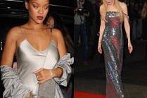 Srebrne sukienki w stylizacjach gwiazd