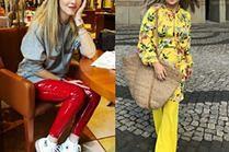 Najciekawsze kolorowe spodnie w stylizacjach celebrytek