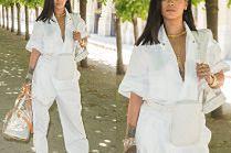 Rihanna w kombinezonie roboczym ogląda pokaz Louis Vuitton