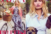 """Lily James pozuje z pieskami w """"Harper's Bazaar"""""""