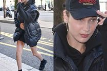 Bella Hadid w drogiej puchówce i z gołymi nogami