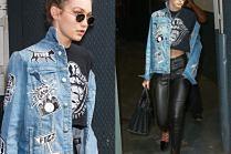 #TRENDY: Rockowa Gigi Hadid w dżinsowej kurtce z naszywkami