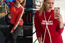 Czerwona bluza - co dobierają do niej gwiazdy?