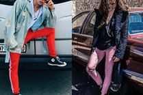 Najciekawsze kolorowe spodnie w stylizacjach celebrytów