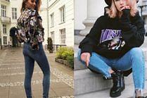 Z czym celebrytki noszą jeansowe legginsy?