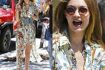 Zabiegana Gigi Hadid w letniej sukience i dziwnych klapkach