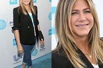 Uśmiechnięta Aniston z ortezą nadgarstka