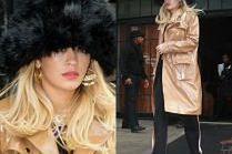 Rita Ora chowa się pod wielką czapką
