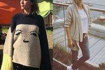 Z czym celebrytki noszą swetry asymetryczne?