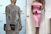 Sukienki za kolano w stylizacjach celebrytek