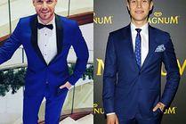 Eleganckie niebieskie garnitury w stylizacjach celebrytów