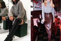 Sweter do skórzanej spódnicy - stylizacje gwiazd