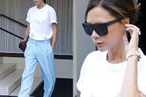 Victoria Beckham szoruje nogawkami po chodniku