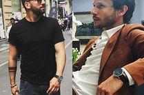 Czarny zegarek męski w stylizacjach celebrytów