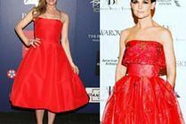 Czerwona rozkloszowana sukienka to hit na ściankach