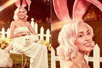 Urocza Miley pozuje w zajęczych uszach