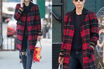 #TRENDY: Jessica Biel w płaszczu w kratę
