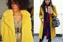 Żółte płaszcze w stylizacjach gwiazd
