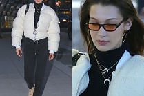 #TRENDY: Bella Hadid w białej puchówce